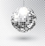 Иллюстрация вектора шарика диско яркого блеска зеркала Элемент света партии ночного клуба Яркий дизайн шарика серебра зеркала для иллюстрация вектора