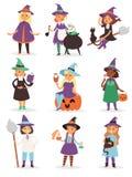 Иллюстрация вектора шляпы костюма характера милого маленького шаржа веника harridan девушки ведьмы хеллоуина волшебная молодая Стоковое фото RF
