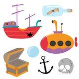 элементы подводного мира иллюстрация вектора