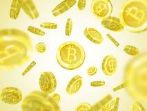 Иллюстрация вектора Bitcoin реалистических монеток предпосылки 3d картины золотых изолированных с bitcoin подписывает Валюта крип Стоковое Фото