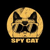Иллюстрация вектора eyeglasses кота шпиона иллюстрация штока
