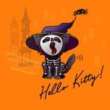Иллюстрация вектора Halloween Кот шаржа черный в шляпе Стоковая Фотография