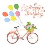 Иллюстрация велосипеда и с днем рождения текста Стоковое Изображение RF