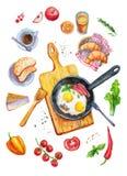 Иллюстрация взгляд сверху акварели еды завтрака Стоковые Изображения RF