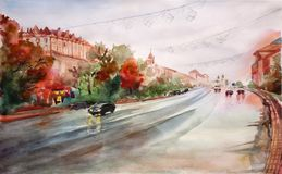 Иллюстрация визирования улицы акварели Город Киева Украина Стоковое Фото