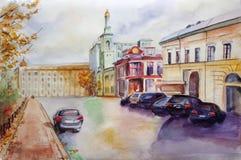 Иллюстрация визирования улицы акварели Город Киева Украина Стоковые Изображения RF
