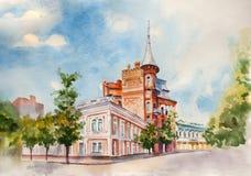 Иллюстрация визирования улицы акварели Город Киева Украина Стоковая Фотография
