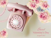 Иллюстрация винтажного ретро вектора телефона реалистическая Розы праздника и античная карточка звонка старые концепции памятей Стоковое Фото