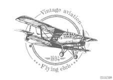 Иллюстрация винтажного самолет-биплана Стоковая Фотография RF