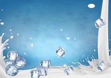 : Иллюстрация выплеска молока, реалистическое молоко брызгает иллюстрация штока