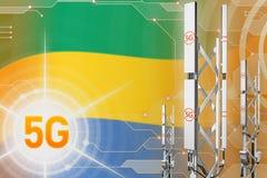 Иллюстрация Габона 5G промышленная, большой клетчатый рангоут сети или башня на цифровой предпосылке с флагом - иллюстрации 3D иллюстрация штока
