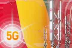Иллюстрация Гвинеи 5G промышленная, большой клетчатый рангоут сети или башня на цифровой предпосылке с флагом - иллюстрации 3D иллюстрация вектора