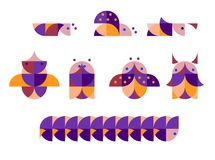 Иллюстрация геометрических насекомых в дуплексе Стоковое Изображение