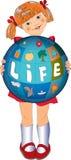 иллюстрация глобуса девушки немногая Стоковая Фотография RF