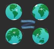 Иллюстрация глобуса земли Комплект карты мира Стоковое Изображение