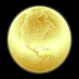 иллюстрация глобуса золотистая металлическая Стоковое фото RF