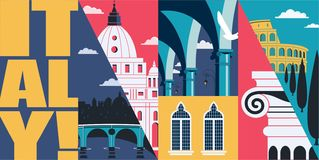 Иллюстрация горизонта вектора Италии, открытка Перемещение к Италии, Риму иллюстрация вектора