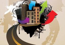 иллюстрация города шаржа Стоковая Фотография RF