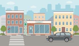 Иллюстрация городской жизни с фасадами дома, дорогой и другими городскими деталями Стоковые Изображения RF
