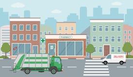 Иллюстрация городской жизни с фасадами дома, дорогой и другими городскими деталями Стоковое Изображение RF