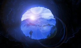 Иллюстрация, горы, пещера, лунный свет, живая природа, путешествие иллюстрация штока