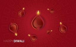 Иллюстрация горящего diya на счастливой предпосылке праздника Diwali стоковое изображение