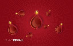 Иллюстрация горящего diya на счастливой предпосылке праздника Diwali стоковые фотографии rf