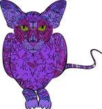 иллюстрация графика расцветки книги цветастая вычерченная рука прелюбодеяния Кот в стиле zentangle иллюстрация штока