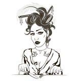 Иллюстрация девушки есть ее обед на белой предпосылке I иллюстрация штока