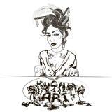 Иллюстрация девушки есть ее обед на белой предпосылке I иллюстрация вектора