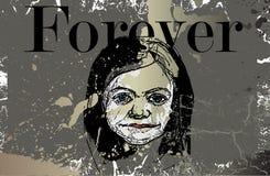 иллюстрация девушки меньшяя стена Стоковая Фотография RF