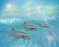 иллюстрация дельфинов искусства Стоковые Фото