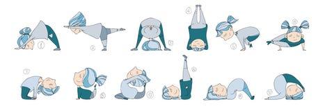 Иллюстрация детей делая йогу иллюстрация вектора