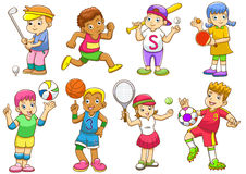 Иллюстрация детей играя различные спорты иллюстрация вектора