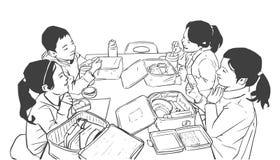 Иллюстрация детей имея обед в школе, детский сад иллюстрация вектора