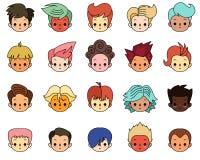 иллюстрация детей персонажей из мультфильма цветастая графическая Мальчики с различной прической Стоковые Фото