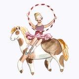 Иллюстрация детей Watrcolor милого horsewoman цирка изолированного на белой предпосылке бесплатная иллюстрация