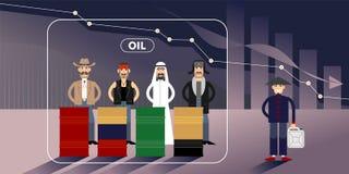 Иллюстрация диаграммы цены на нефть с персонажами иллюстрация штока