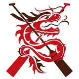 Иллюстрация дизайна знака значка шлюпки дракона иллюстрация вектора
