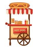 Иллюстрация дизайна хот-дога плоская автомобиля фаст-фуда Передвижной ретро винтажный значок тележки магазина с шильдиком с больш Стоковое Изображение