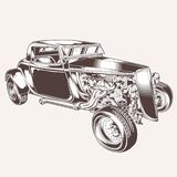 Иллюстрация дизайна ratrodvector мотора футболки логотипа вектора классики автомобиля HotRod винтажная бесплатная иллюстрация