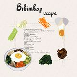 Иллюстрация для bibimbap рецепта Установите продуктов bibimbap иллюстрация вектора