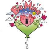 Иллюстрация дня валентинок воздушного шара сердца стоковое фото rf