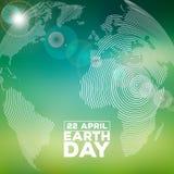 Иллюстрация дня земли с абстрактными планетой и литерностью текстуры нашивки Окружающая среда предпосылки карты мира 22-ого апрел Стоковое Изображение RF