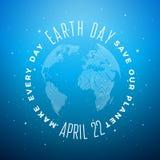 Иллюстрация дня земли с абстрактными планетой и литерностью текстуры нашивки Окружающая среда предпосылки карты мира 22-ого апрел Стоковое фото RF