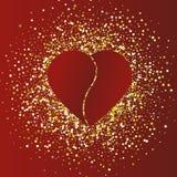 Иллюстрация дня ` s валентинки Красное сердце на красной предпосылке золота иллюстрация вектора