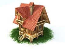 иллюстрация дома травы 3d деревянная Стоковое Изображение