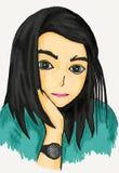 Иллюстрация женщины с тонкой улыбкой иллюстрация вектора