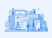 Иллюстрация здания интерфейса вебсайта иллюстрация штока