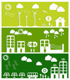 иллюстрация зеленого цвета принципиальной схемы города Стоковая Фотография RF